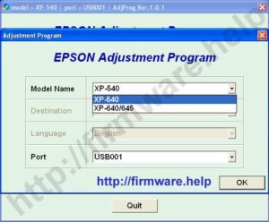 Epson XP-540, XP-640, XP-645 Adjustment Program
