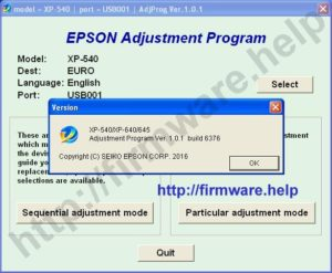 Epson XP540, XP640, XP645 Adjustment Program