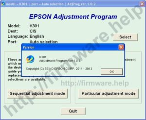 [Epson K301 Adjustment Program]