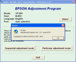 Epson XP900 Adjustment Program