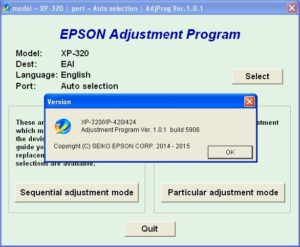 Epson XP320, XP420, XP424 Adjustment Program