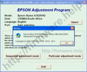 [Epson SX525WD, BX525WD Adjustment Program]